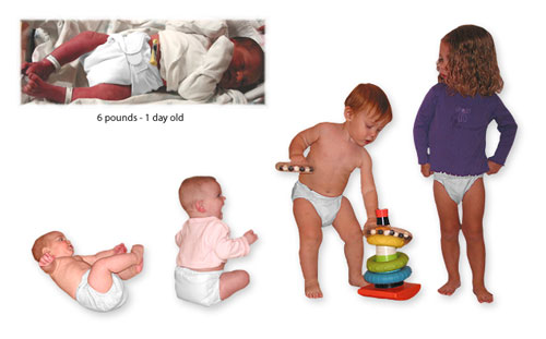 photos of babies and children of different ages wearing bumGenius! One Size Pocket Diapers